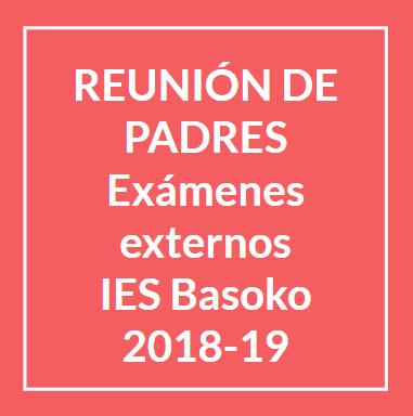 Exámenes externos IES Basoko 2018-19